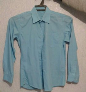 Рубашка бирюзового цвета на мальчика 12-14 лет