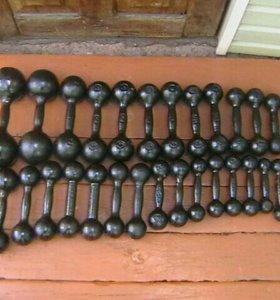 Гантели вес 8, 6, 5, 4, 3, 2.5, 2, 1.5, 1кг.