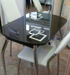 Стол кухонный стеклянный раздвижной