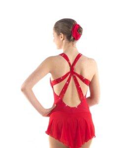 sagester красное платье для фигуроного катания