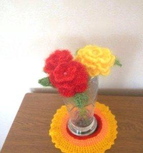 Вязанная роза