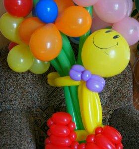 Декор из воздушных шаров. Фигурки и цветы из шаров