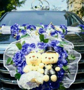 Свадебные кольца на машину, украшения на капот