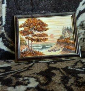 Картина с янтарем