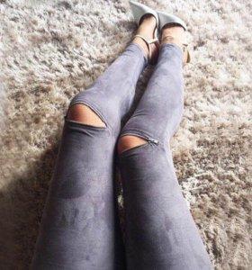 Тонкие стрейч брюки с молнией 🌸