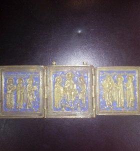 Складень с эмалями 19 век