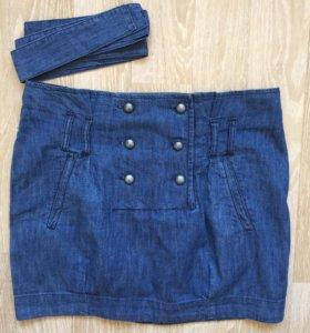 Юбка джинсовая двубортная Stradivarius синяя