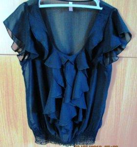 Черная шифоновая блузка на лето