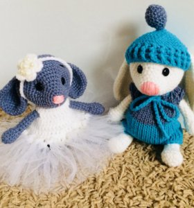 Игрушки ручной работы! Мышка и Зайчишка!