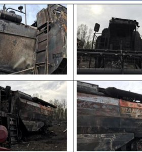 2 сгоревших комбайна