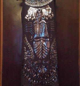 Платье темно-серое с пайетками