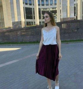Плиссированная бархатная юбка