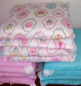 Детское постельное бельё, коврики бомбон, бортики
