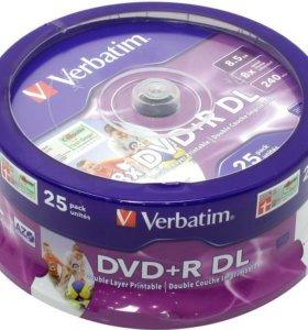 Двухслойные двд диски Вербатим 8,5 гб. 25 шт