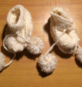 Пинетки вязаные для малыша. Новые