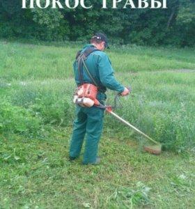 Покос травы тримером