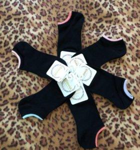 Чёрные короткие женские носки. На лето. Тонкие.