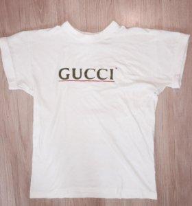 Винтажная белая футболка Gucci гуччи оригинал