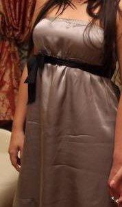 Шелковое стальное платье с кружевом Gaudi