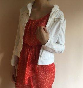 Белая женская летняя куртка жакет и платье