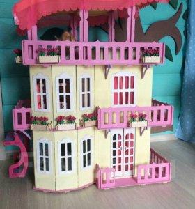 Кукольный домик для Барби с мебелью,новый
