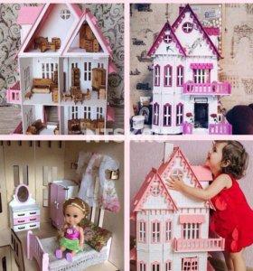Кукольный домик с мебелью, новый