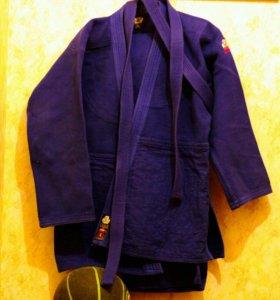 Кимоно для дзюдо,самбо синее взрослое