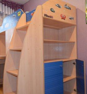 Кровать чердак стол шкаф для одежды шкаф для книг