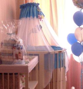 Постельное Premium Baby и держатель для балдахина