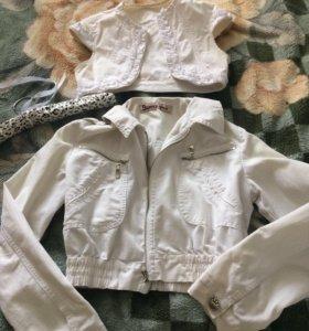 Куртка и жилетка, джинса, на 42 размер (s)