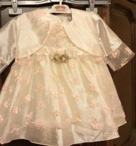 Платье с болеро нарядное на девочку 80см