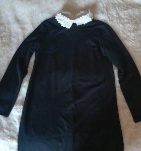 Темно-синие платье с белым воротником