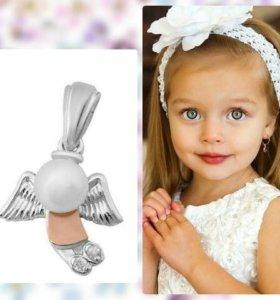 Детская подвеска из серебра с фианитами и жемчугом