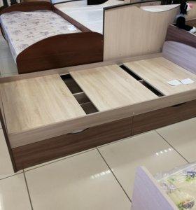 Кровать односпальная с ящиками и матрацем