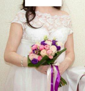Легкое летнее свадебное платье для беременных