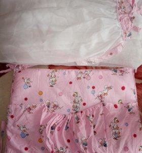 Набор балдахин и бортики в кроватку