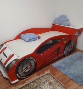 Кровать машинка Формула с  матрасом