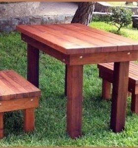 Скамейки, столы