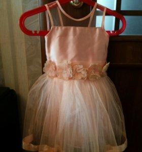 Платье цвет персик на рост 1м.