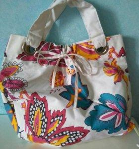 Пляжная сумка белая с рисунком