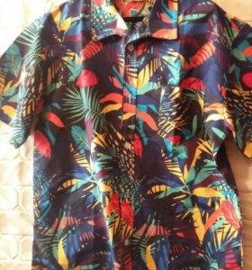 Яркая мужская рубашка 54-56 с коротким рукавом