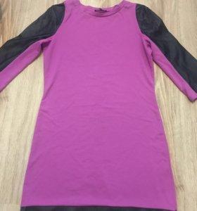 Платье трикотаж с кожаными вставками 42-44р