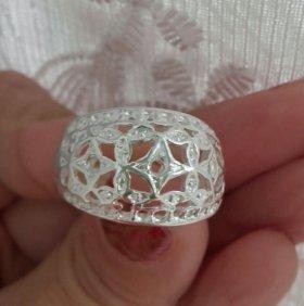 Серебряное кольцо широкое узорчатое