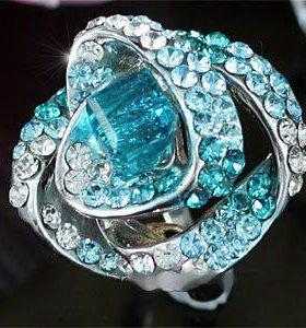 """Кольцо """"Голубая Роза"""" с кристаллами Swarovski"""