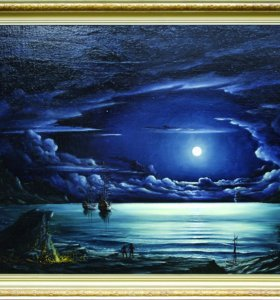 "Картина, ""Ночь в дикой бухте"". Холст масло."
