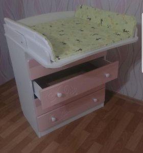 Детская кроватка и комод+пеленальный столиком!