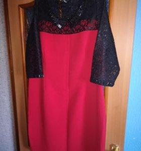 Красное платье 52 р.
