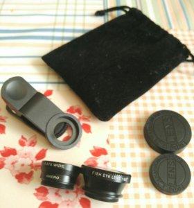 Линзы для телефона fish eye, macro, широкоуголка