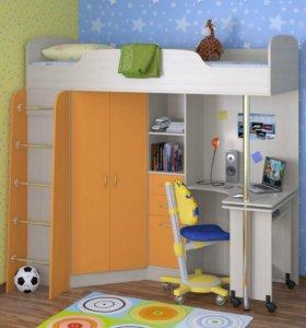 Кровать чердак Теремок-1 манго