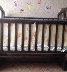 Кроватка-маятник с матрацем бортики в подарок